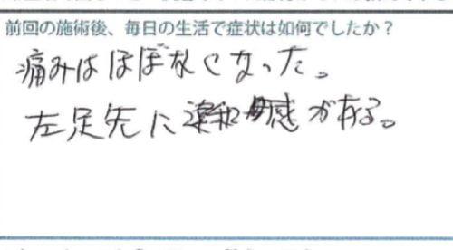 広島で椎間板ヘルニアの治療で有名な整体院の記録-腰の痛みが消えて治った例6
