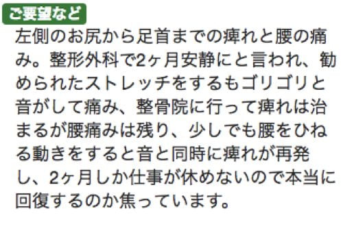 2ヶ月安静と言われた椎間板ヘルニアが治った例_広島でヘルニアの治療で有名な整体広島眞田流8